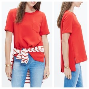Madewell Industry Button Back Tunic Silk Top XS